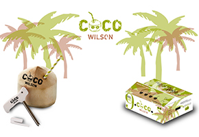 CAJA COCO WILSON CON 9 COCOS VERDES FRESCOS + ABRIDOR COCOCUT